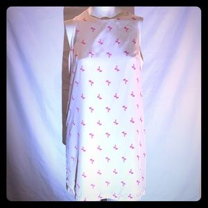 White and pink palm tree dress
